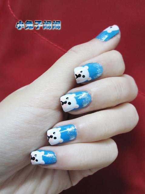 nail art polar bear conciry zhang flickr. Black Bedroom Furniture Sets. Home Design Ideas