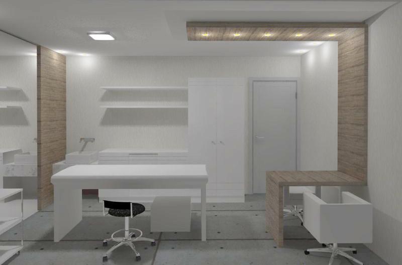 Armario Branco De Cozinha ~ Projeto Sal u00e3o de Beleza Sala de Estética Priscila