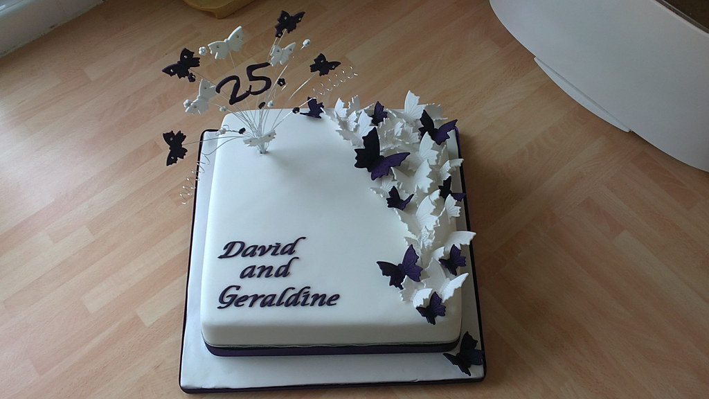 Butterfly 25th Silver Wedding Anniversary Cake | Deep ...