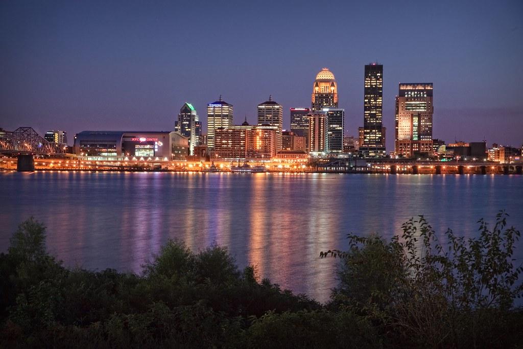 Louisville Skyline At Night With New Kfc Yum Center Cre