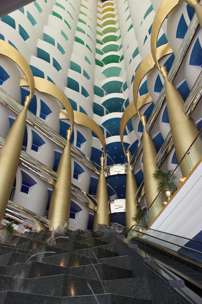 Burj al arab hotel dubai hotel interior escalator and for Dubai six star hotel