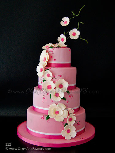 pink flower wedding cake dusky pink wedding cake with sugar flowers four tier 18574