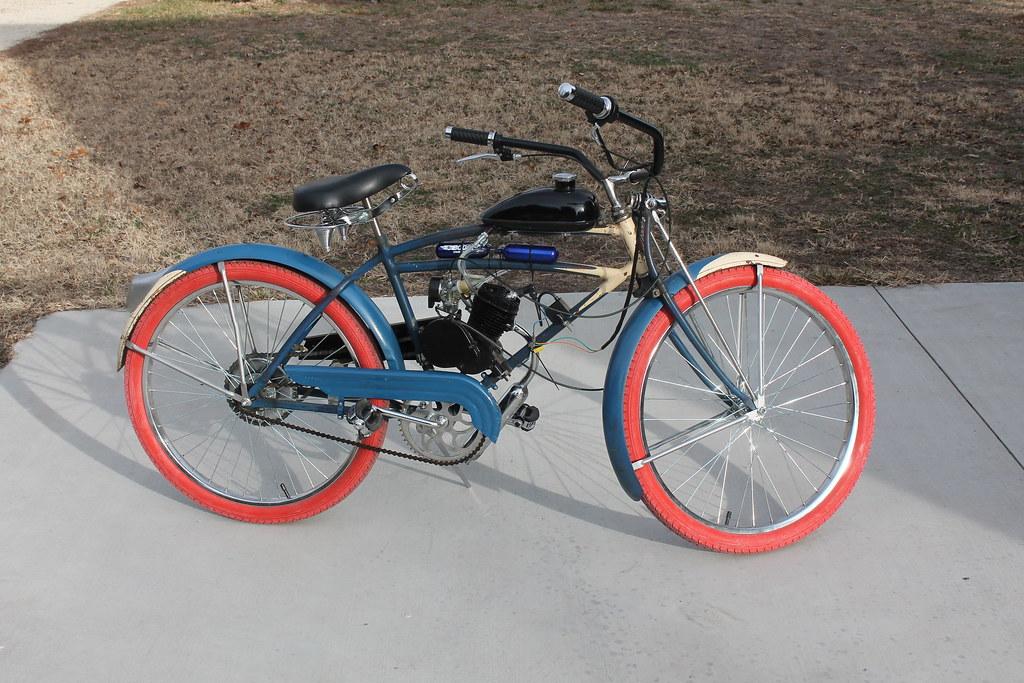 093f8772d2f Vintage Bicycle Light White Schwinn Excelsior Background: Schwinn Excelsior  X - Motorized