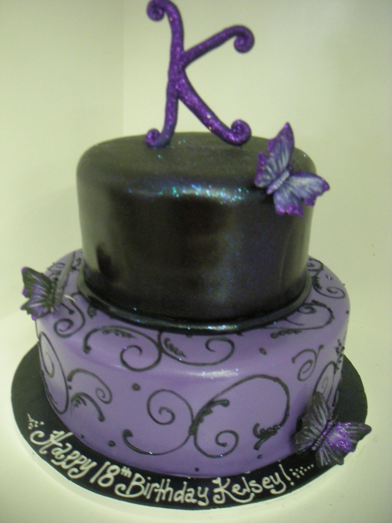 Black And Purple Birthday Cake 632 Www Asweetdesign