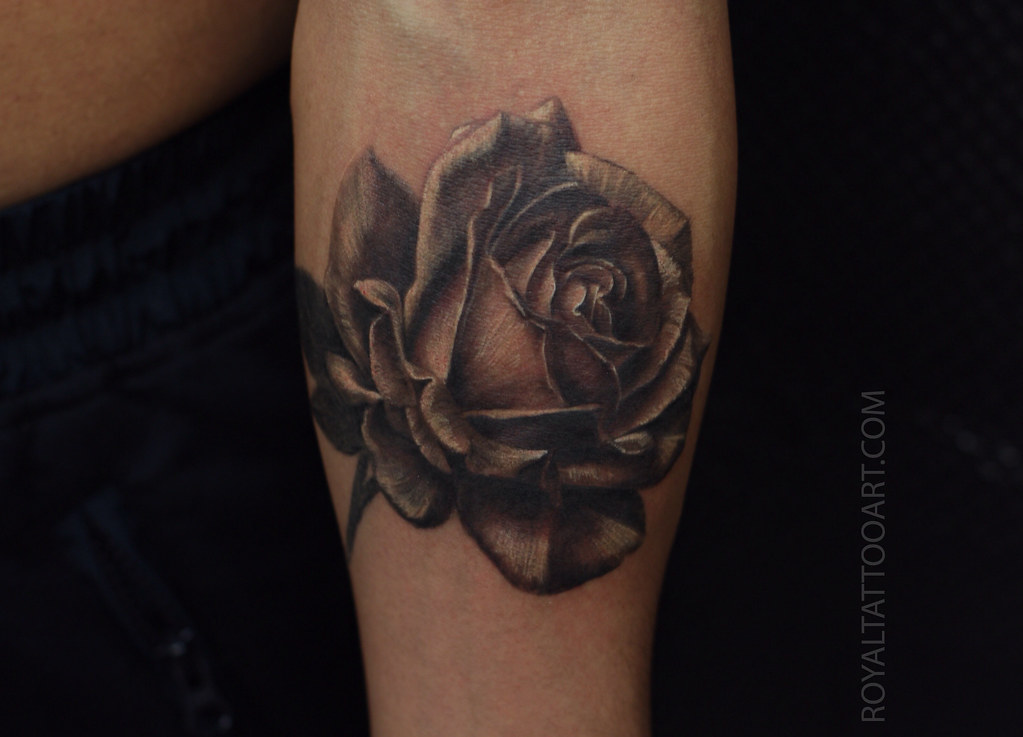 Realistic black and gray rose tattoo royaltattooart flickr for Black and gray rose tattoos
