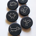 hand embroidered brooches in navy blue