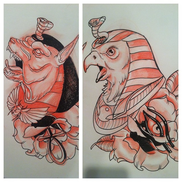 Egyptian god tattoos flickr photo sharing for Egyptian tattoo flash