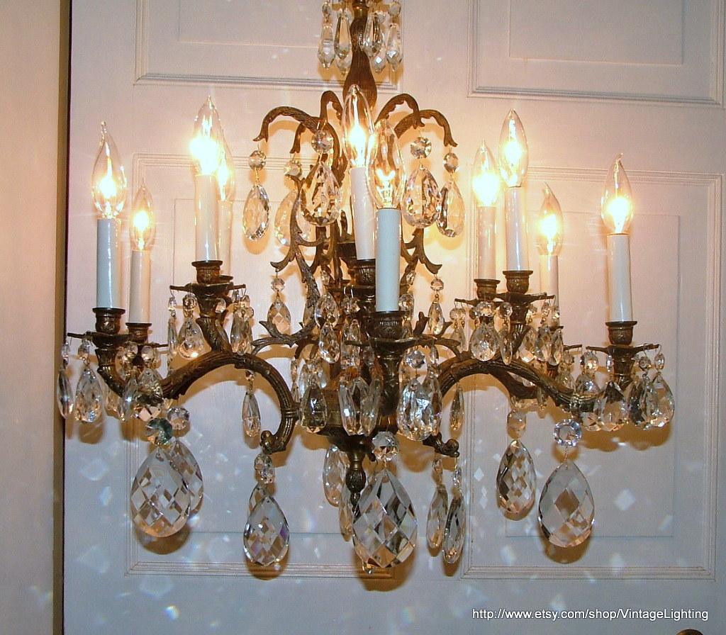 Vintage 108 Glass Crystal Prisms Brass Chandelier Lighting