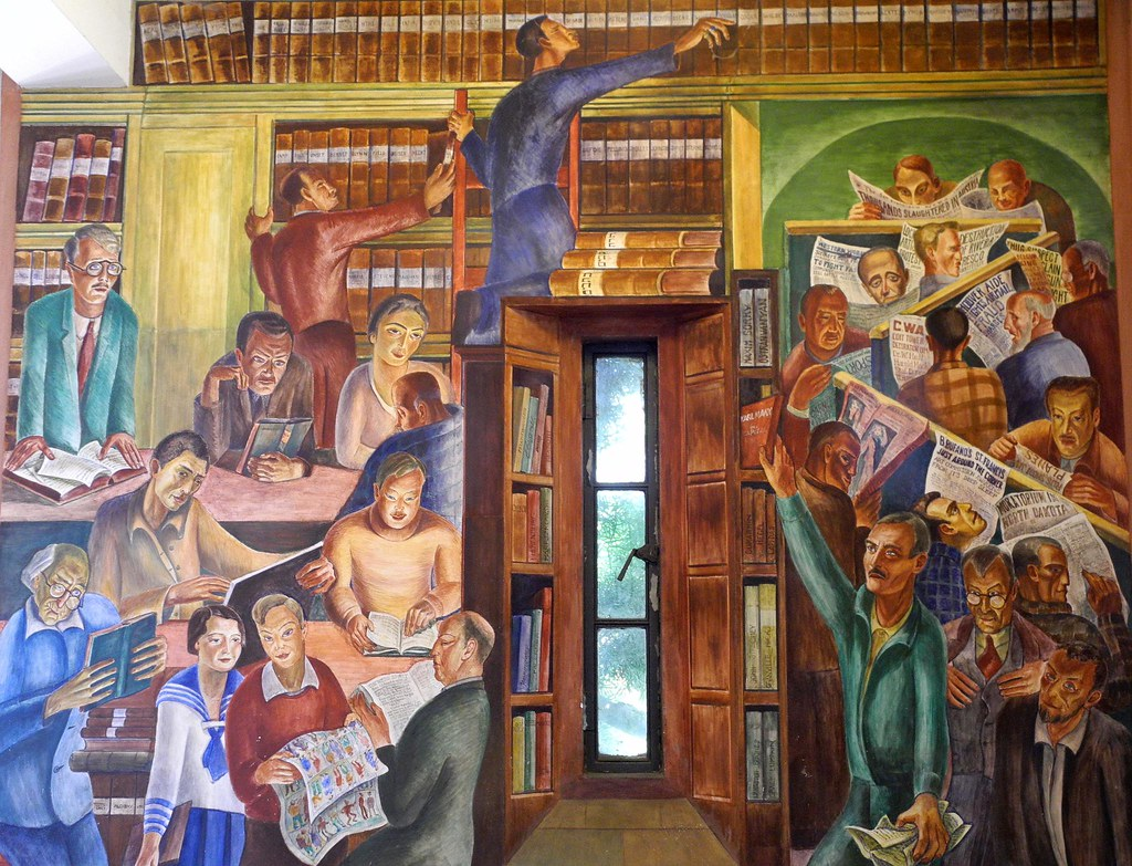 Coit tower murals library by bernard zakheim 01 coit for Coit tower mural