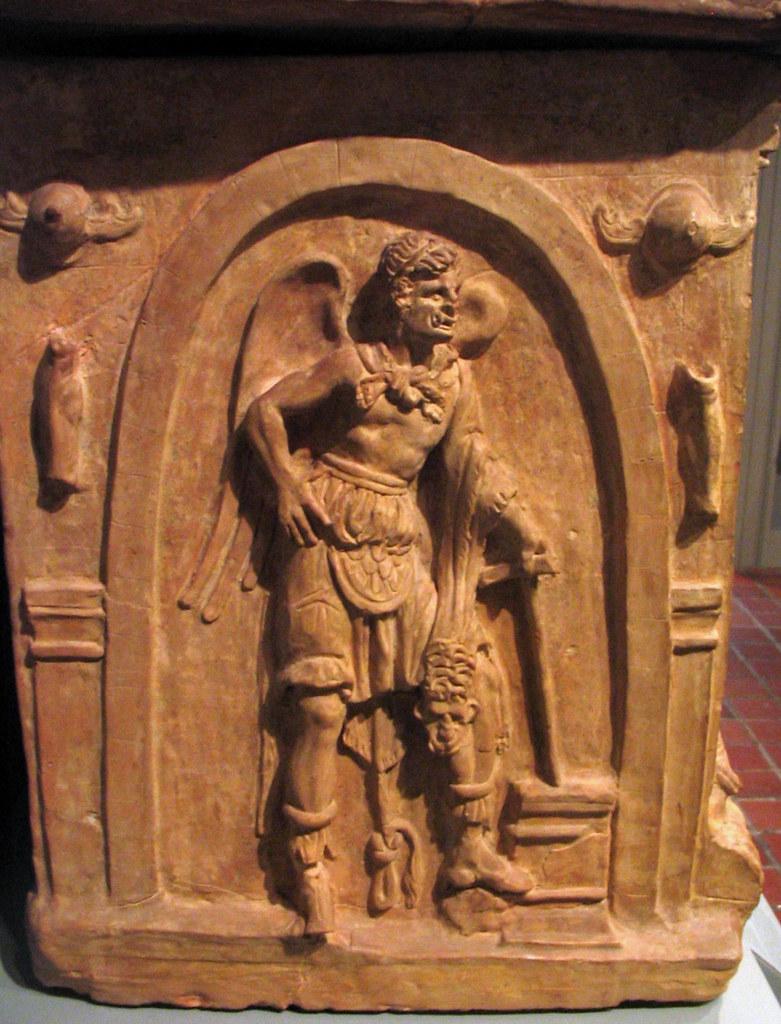 Etruscan urn: detail of Charun | an Etruscan underworld ...