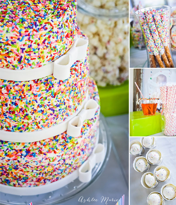 This sprinkles cake set the stage for this cake mix and sprinkles birthday party