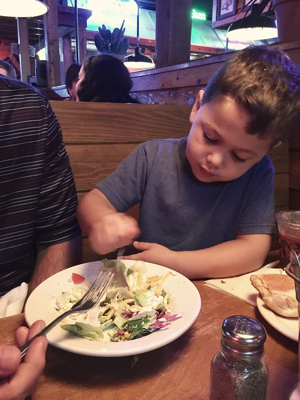 Sharing a salad with daddy!