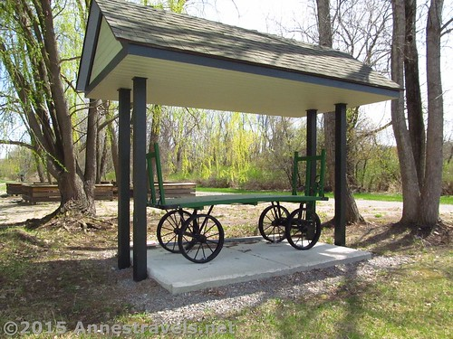 Restored baggage cart in Rochester Junction Park, Lehigh Valley Trail, New York