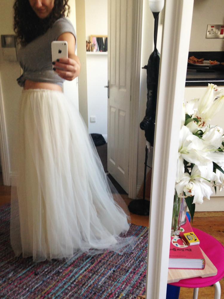 handmade DIY tulle bridal skirt
