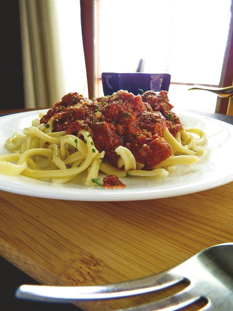 Momma Crawford's Bolognese Sauce with Home Rolled Fettuccini Pasta