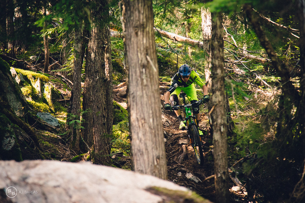 Dylan Wolsky spots his exit, High Society trail, Whistler