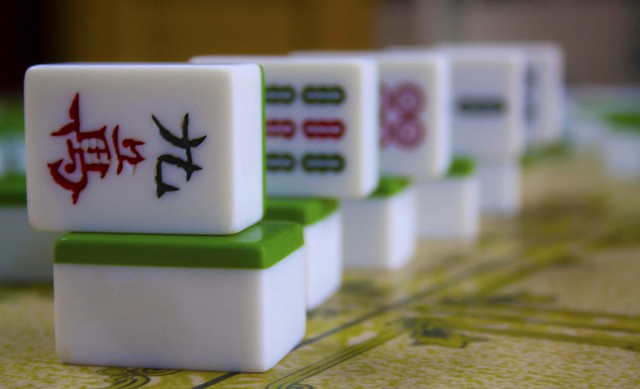 Mahjong Dices in Tiretta Bazar, Kolkata, India