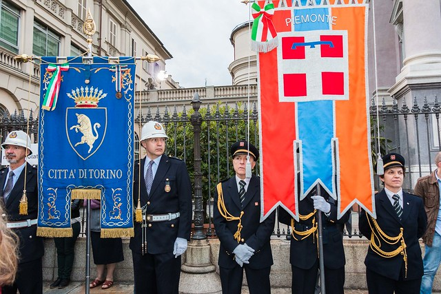 The banners of the Municipality and the province of Turin
