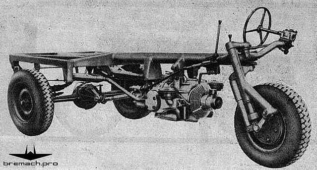 MB1 running gear, with a truck like rear section, and an airplane landing gear and motor for the front.