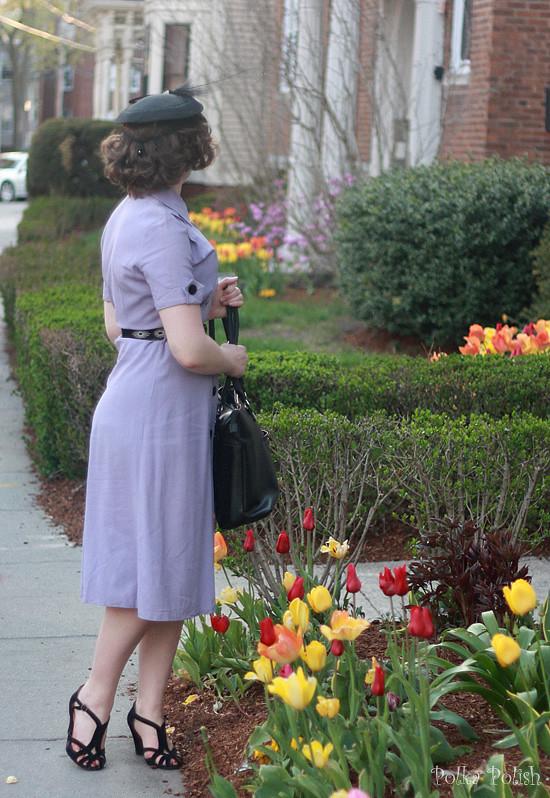 Purple vintage dress with black velvet buttons