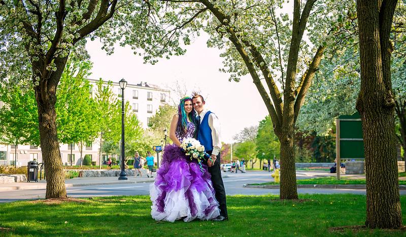 Mohawk meets rainbow hair wedding from @offbeatbride