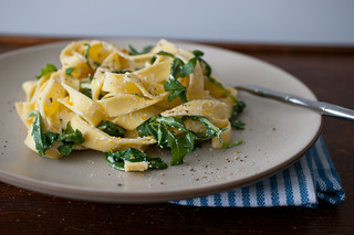 pasta with meyer lemon, ricotta, arugula, and bottarga | by sassyradish