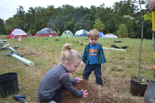 Two children planting a tree seedling
