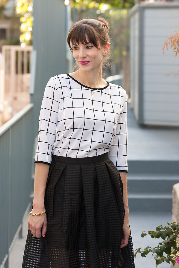 Walk Trendy Skirt, Grid Print Top, Black and White outfit