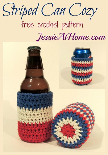Striped Can (or bottle) Cozy ~ free crochet pattern by Jessie At Home