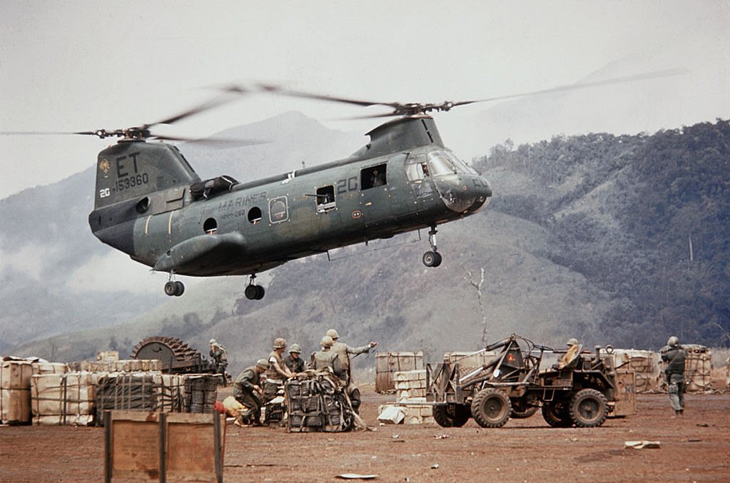 Vietnam War 1968 - Helicopter in Flight near Mountain Rang ...