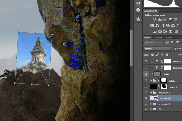 Create a photoshop otherworldly scene with a climber in a cave #2
