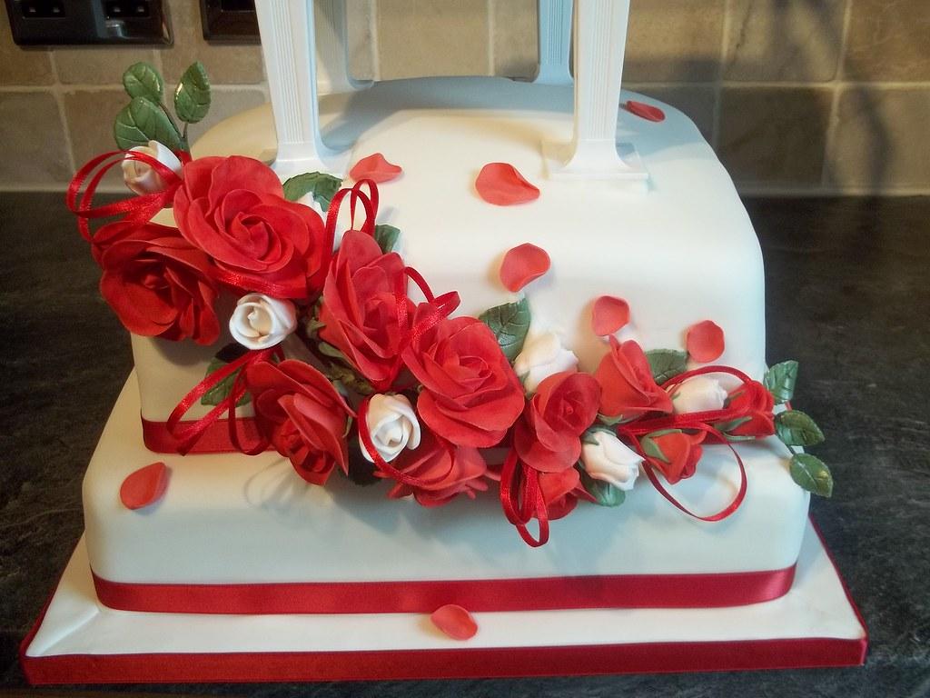 Wedding Cake Rose Et Blanc