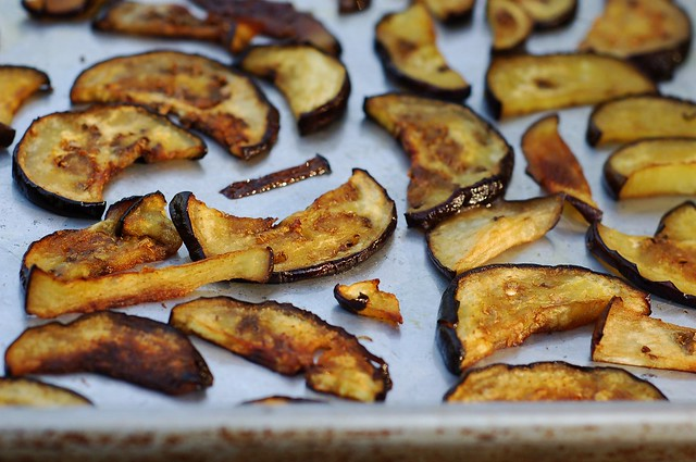 Roasted eggplant  for the Thai eggplant salad by Eve Fox, The Garden of Eating, copyright 2015