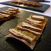 Mushroom and flaky salt on a cracker