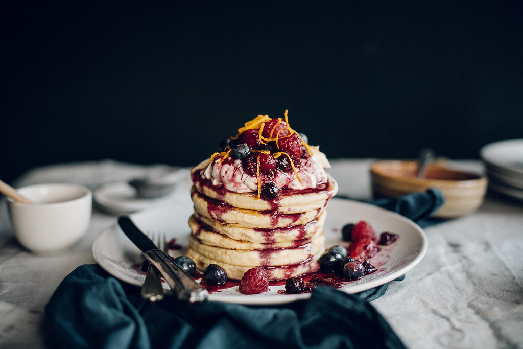Orange Blossom Hotcakes + Vanilla Honey Cream + Berry Compote