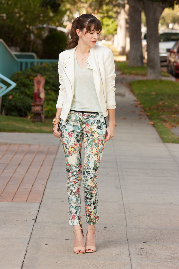 Jord Watch, Floral Pants, Mint Tee, White Moto Jacket