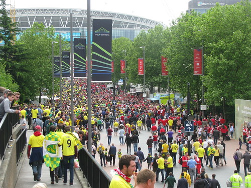 Norwich City regain their place in the Premier League with a 2-0 win at Wembley in the Championship Playoff Final