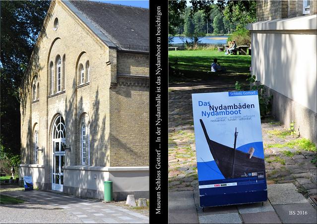 Archäologisches Museum Schloss Gottorf in Schleswig. Auf der Museumsinsel kann unter anderem das Nydamboot in einer eigens dafür vorgesehenen Halle, der Nydamhalle, besichtigt werden. Das riesige Ruderboot aus der Eisenzeit hat eine Länge von 23 Metern, konnte 45 Personen aufnehmen und war seetauglich. 320 nach unserer Zeitrechnung wurde es im Nydam-Moor geopfert und 1863 wieder ausgegraben ... Fotos: Brigitte Stolle 2016