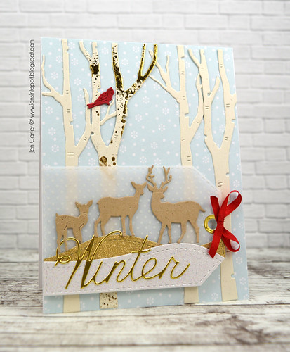 CIC383 Jen Carter Winter Birch Deer Tag