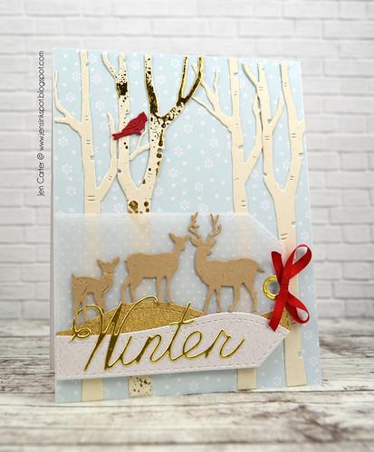 CIC383 Jen Carter Winter Birch Deer Tag