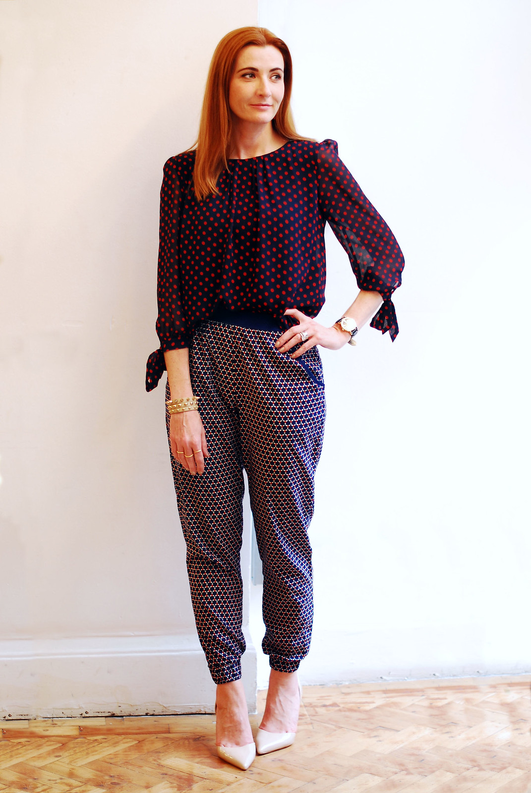 fever London spotted top and loose patterned trousers