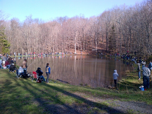 Photo of youth fishing rodeo at lake