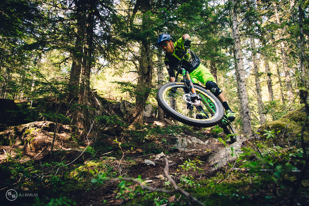 Dylan Wolsky, low and fast, High Society trail, Whistler