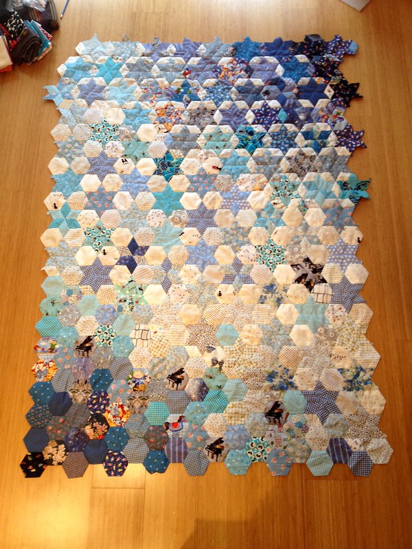 Blue and White EPP quilt