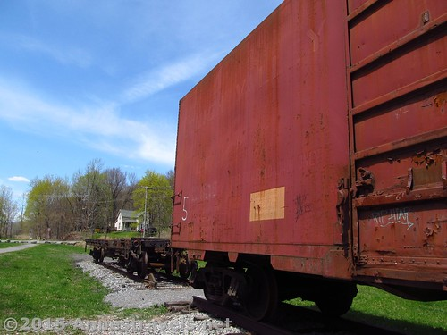 Real train cars in Rochester Junction Park, along the Lehigh Valley Trail, New York