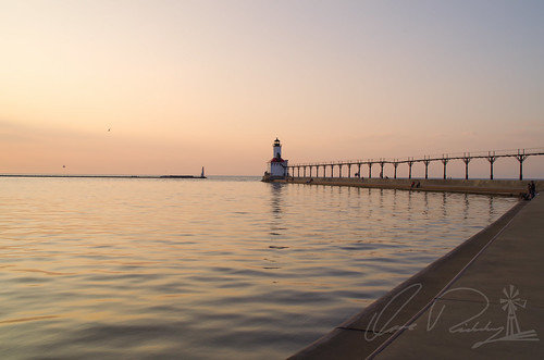 Michigan City East Light At Sunset