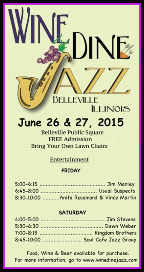 Wine, Dine, Jazz 6-26, 6-27-15