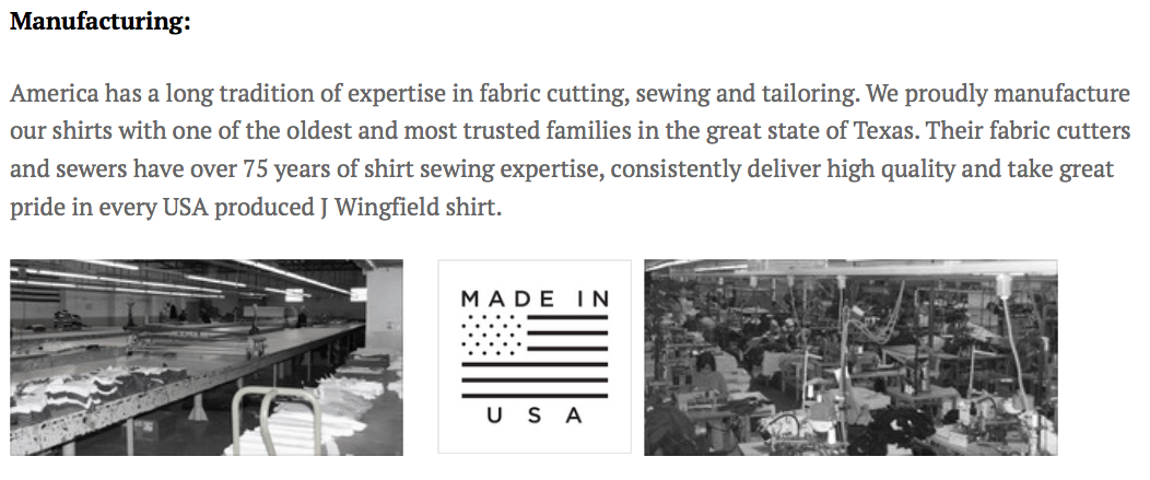 J Wingfield shirts - We proudly manufacture our products in the USA and invite you to join us by weaving our shirts into your own American dream