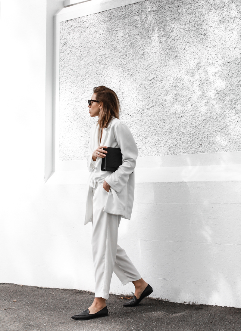 modern legacy, all white, monochrome, outfit, street style, BC the label, suiting, layering, Anine Bing, pointed flats (1 of 1)