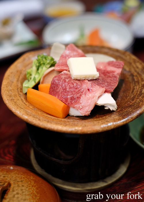 Beef and vegetable hotpot at Nakayasu Ryokan, Kanazawa